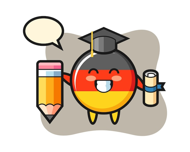 Germany flag badge cartoon is graduation with a giant pencil