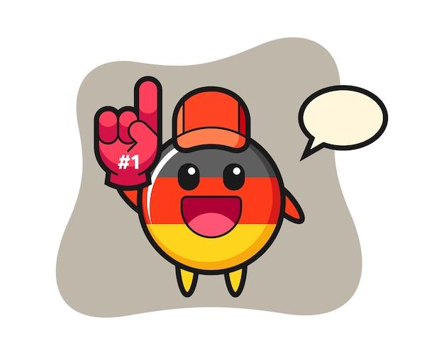 Мультфильм значок флага германии с перчаткой для фанатов числа