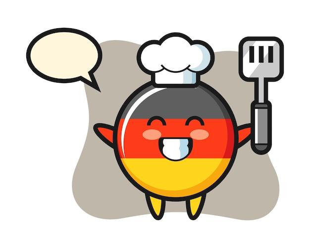 요리사가 요리하는 독일 국기 배지 캐릭터