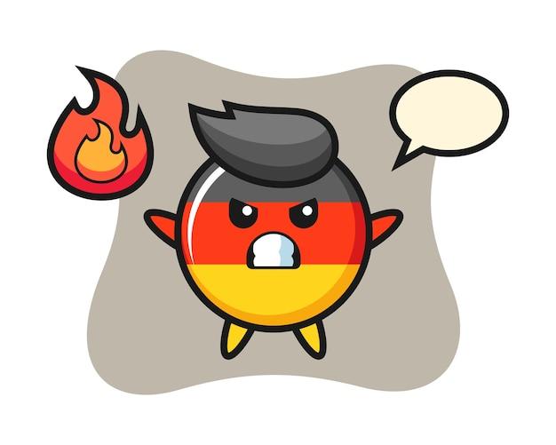 怒っているジェスチャーでドイツ国旗バッジキャラクター漫画