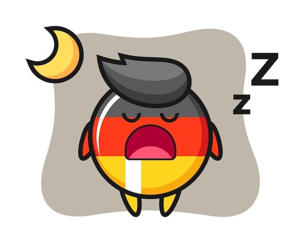 夜寝ているドイツの旗バッジキャラクター