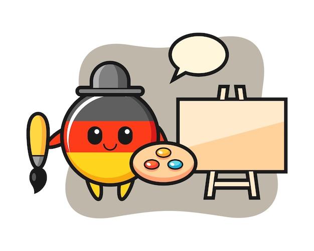 画家としてのドイツの旗バッジマスコット