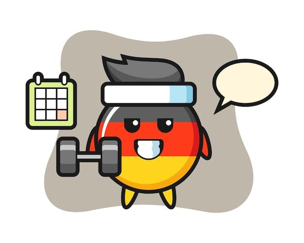 ダンベルでフィットネスをしているドイツの旗バッジマスコット漫画