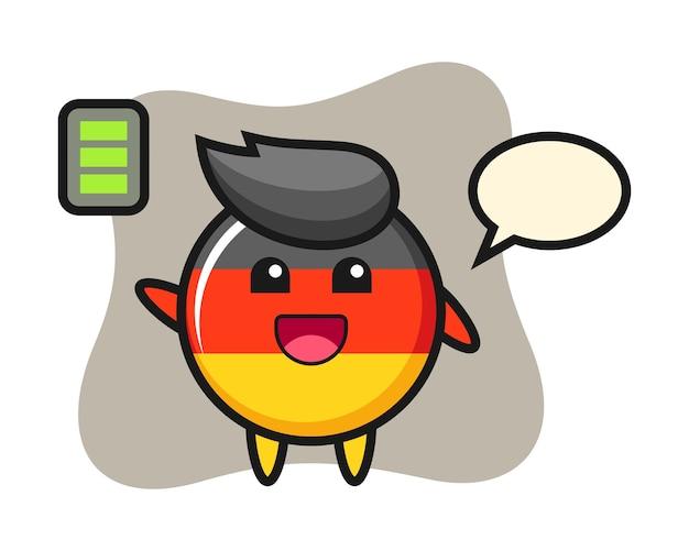 エネルギッシュなジェスチャーでドイツ国旗バッジマスコットキャラクター