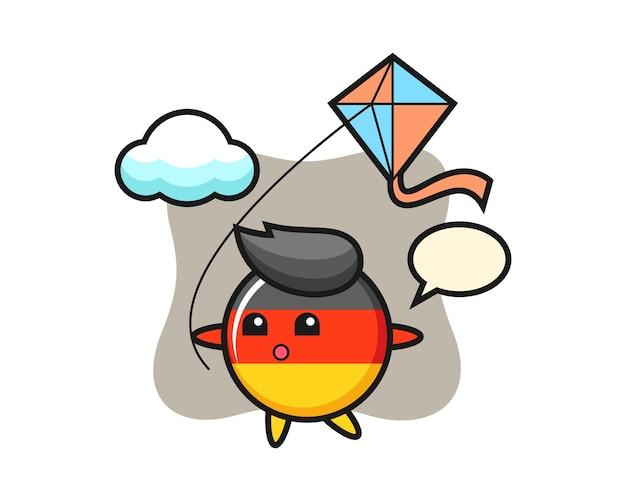Талисман значка флага германии играет воздушного змея
