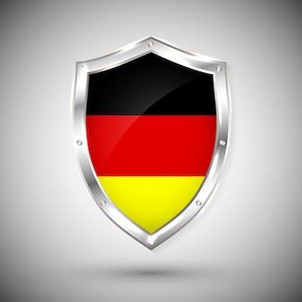 반짝이 금속 방패에 독일 플래그입니다. 흰색 배경에 대해 방패에 플래그의 컬렉션입니다. 추상 고립 된 개체입니다.