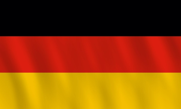 Germany flag with waving effect, official proportion.