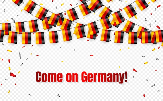 ドイツは紙吹雪で透明な背景に花輪にフラグを立てます。ドイツ独立記念日のお祝いテンプレートバナーの旗布を掛ける、
