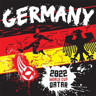2022年ワールドカップカタールデザインのドイツサッカーサッカーポスターイラスト