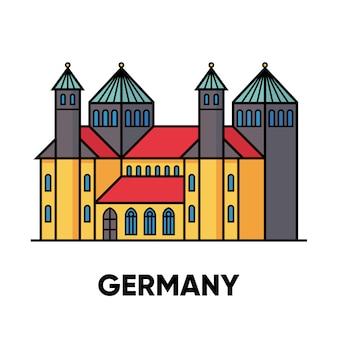 Германия, хильдесхайм, собор святой марии и церковь святого михаила, иллюстрация путешествия