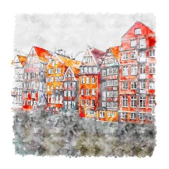 ドイツハンブルク水彩スケッチ手描きイラスト