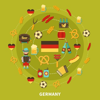 Germany icons round composition