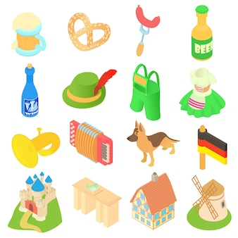 Germany icons set in isometric 3d style