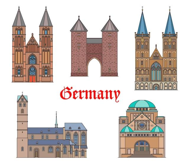 Германия ориентир зданий и соборов, немецкие иконы архитектуры путешествия.