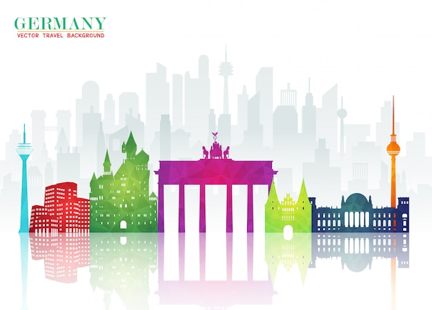 Germany landmark global travel and journey paper Premium Vector