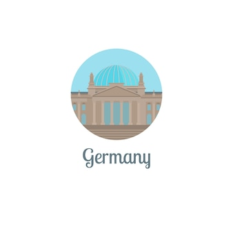 Germany landmark isolated round icon