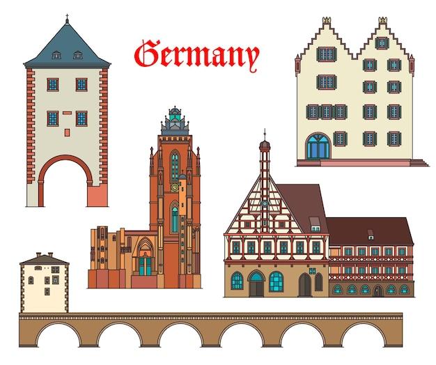 독일 랜드 마크 건축물과 독일 도시 주택 건물. forchheim 시청사, oppenheim gautor 기념물, limburg 오래된 다리 및 바바리아, hessen의 wetzlar 대성당의 독일 랜드 마크