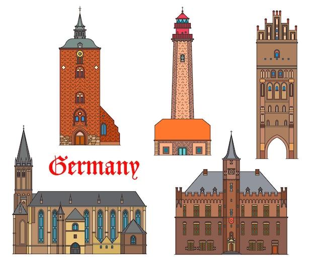 Архитектура достопримечательности германии, здания немецких городов, соборы и церкви, вектор. кирхе святого николая в фемарне и калкаре, маяк флугге и ворота анклам штейнтор в шлезвиге и померании