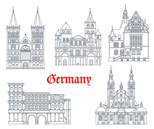 Значки архитектуры достопримечательности германии в городах германии