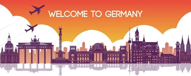 Germany landmarks silhouette banner