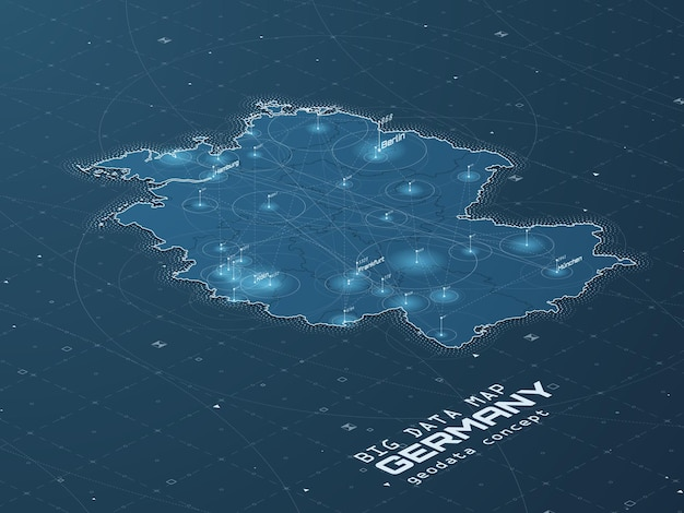 Визуализация больших данных на карте германии. футуристическая карта инфографики.