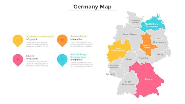 ドイツの地図は、近代的な国境を持つ州または地域に分割されています。地理的な場所の表示。インフォグラフィックデザインテンプレート。プレゼンテーション、パンフレット、観光ウェブサイトのベクトルイラスト。