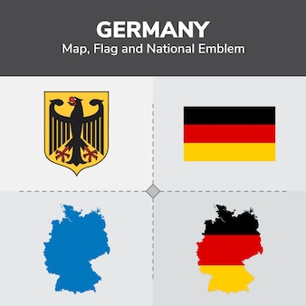 Germany Map, Flag and National Emblem