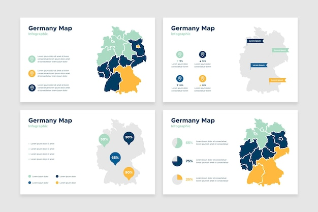 Germania mappa infografica in design piatto