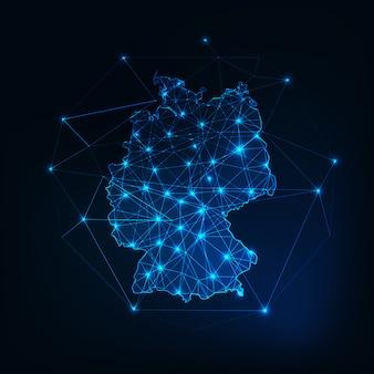 星と線の抽象的なフレームワークを持つドイツ地図のアウトライン。