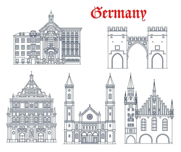 ドイツ、ミュンヘンの建築物と旅行のランドマーク、ベクトル。ドイツの聖ルートヴィヒ教会、聖人。 michael jesuit教会、karlstorゲートまたはneuhauser tor、旧市庁舎、asam教会またはasamkirche