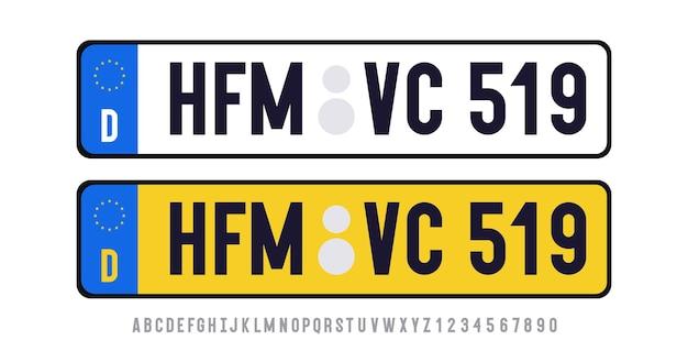 透明な背景に分離されたフォントで設定されたドイツのプレートテンプレートユナイテッドkindom車のプレート