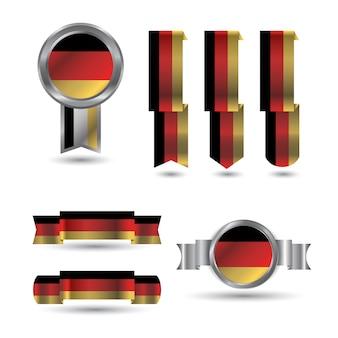 독일 리본 검은 색 빨간색 노란색 플래그 설정