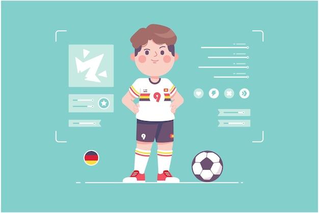 ドイツのサッカー選手のかわいいキャラクターデザイン