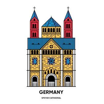Германия, шпейерский собор, иллюстрация путешествия, плоский значок