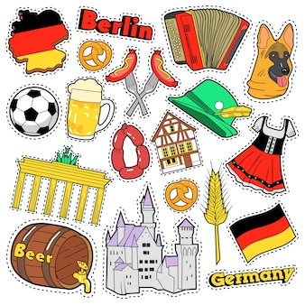 Germany travel scrapbook stickers, patches, badges for prints with sausage, flag, architecture and german elements. comic style  doodle