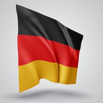 독일, 파도가 있는 벡터 깃발과 흰색 배경에 바람에 물결치는 굽힘.