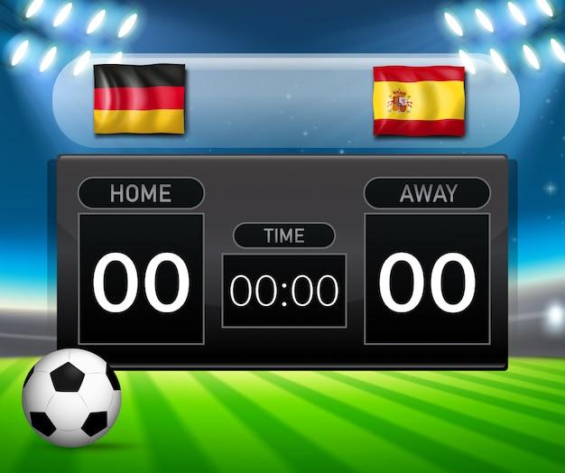 Germany vs spain soccer scoreboard template