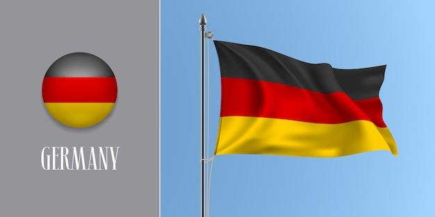 Germany waving flag on flagpole and round icon vector illustration. realistic 3d mockup with design of german flag and circle button