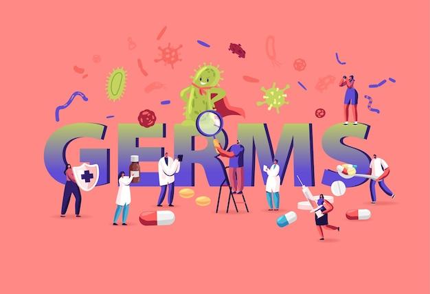 세균 및 바이러스 개념. 만화 평면 그림