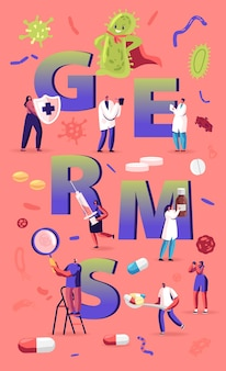세균 및 바이러스 개념. 거대한 녹색 미생물로부터 보호하는 사람들. 만화 평면 그림