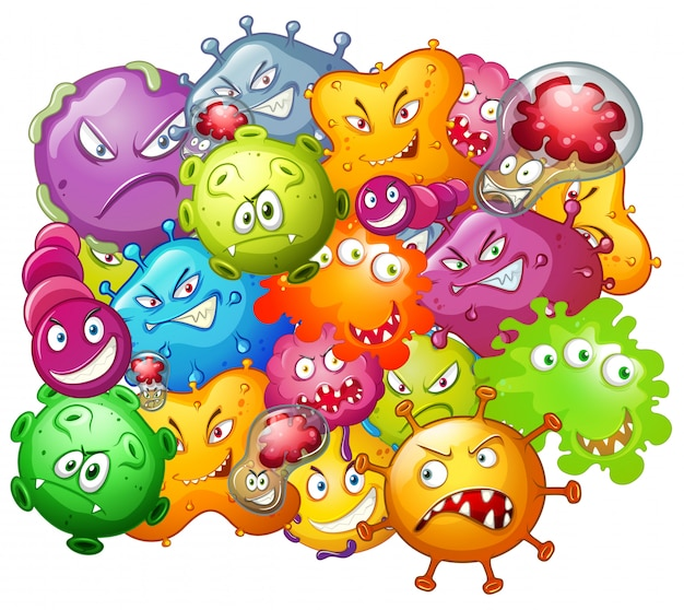 Germs with monster face