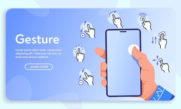 스마트 폰용 제스처. 휴대 전화, 손가락 터치 스크린을 들고 손 손바닥. 모바일 앱 사용자 인터페이스 또는 매뉴얼에 대한 간단한 선형 아이콘 다양한 제스처 세트