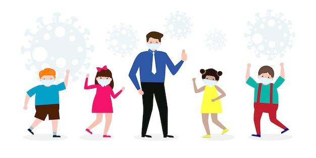 教師と生徒のジェスチャー新しい通常のライフスタイルのために学校に戻る