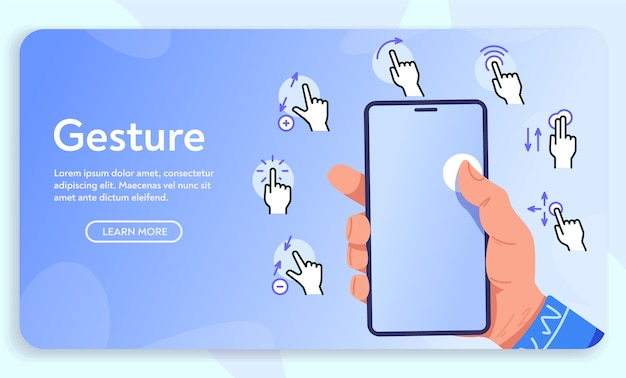 Gesture for smartphones. hand palm holding mobile phone, finger touching screen. set of simple linear icon various gestures for mobile app user interface or manual