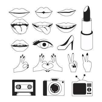 Gestures icons and pop art elements in white background