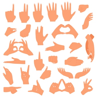 Gesturing hands. communication hand gesture, pointing, counting fingers, ok sign, palm gesture language  illustration set. gesturing signal expression, pointing and handshake