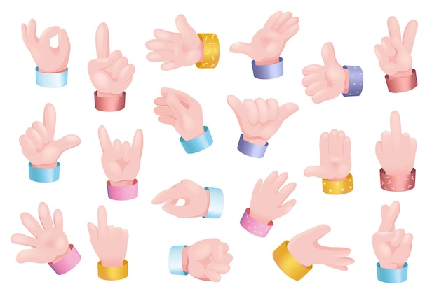 Gesturing hands set graphic concept. human hands showing different signs - ok, like, call, thumb up, peace, up or down, counting and other. vector illustration with 3d realistic objects isolated
