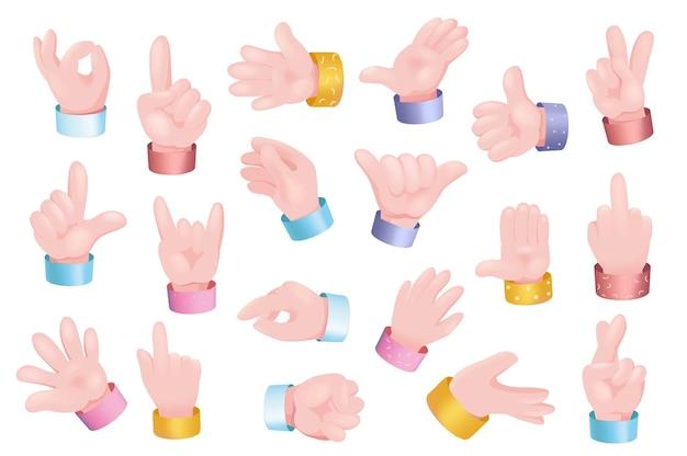 Жесты руки установить графическую концепцию. человеческие руки показывают разные знаки - ладно, вроде, зов, большой палец вверх, мир, вверх или вниз, счет и другие. векторная иллюстрация с 3d реалистичными объектами изолированы