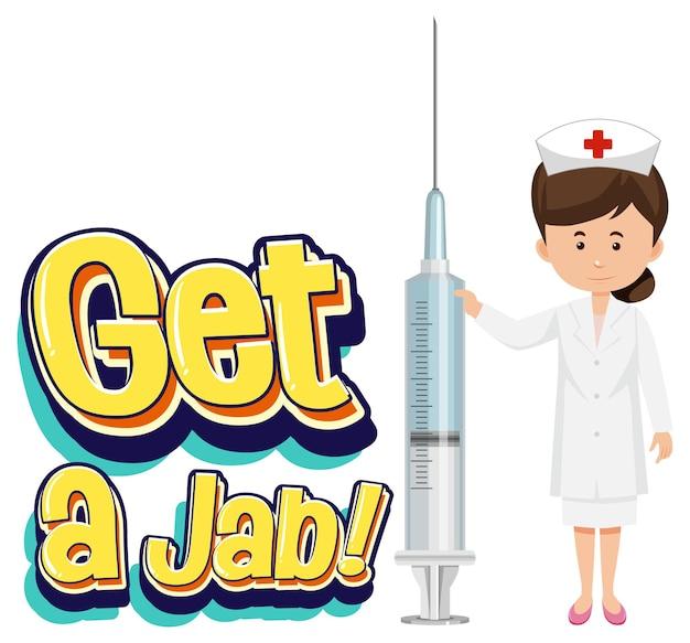 ワクチン注射器を持っている看護師と一緒にジャブフォントを入手する
