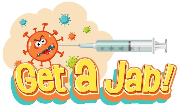 ワクチン注射器とコロナウイルスの漫画のキャラクターでジャブフォントを取得します